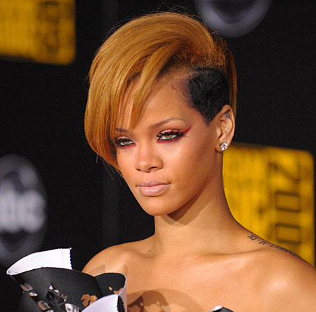 Rihanna, blonde Mohawk, 2009. Rihanna, Red hair w/extensions, 2010