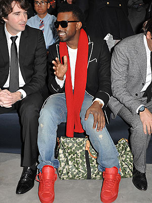Kanye West in Louis Vuitton Shoes (that he designed)